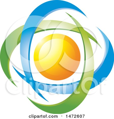 Clipart of a Sun in Green and Blue Swooshes - Royalty Free Vector Illustration by Lal Perera