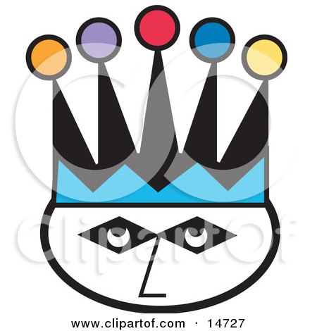 Joker's Face Wearing A Colorful Jester Hat Clipart Illustration by Andy Nortnik