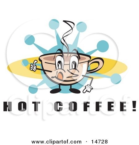 Happy Coffee Cup Character With Steamy Hot Coffee  Posters, Art Prints