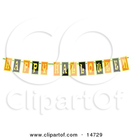 Black, Yellow and Orange Happy Halloween Banner Clipart Illustration by Andy Nortnik