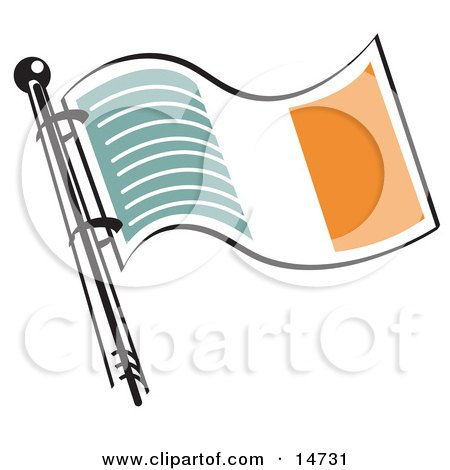 Green White And Orange Irish Flag Waving In The Breeze Clipart Illustration
