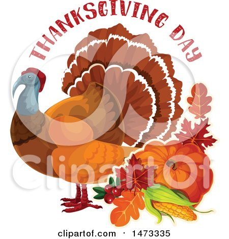 Clipart of a Turkey Bird with Thanksgiving Day Text - Royalty Free Vector Illustration by Vector Tradition SM
