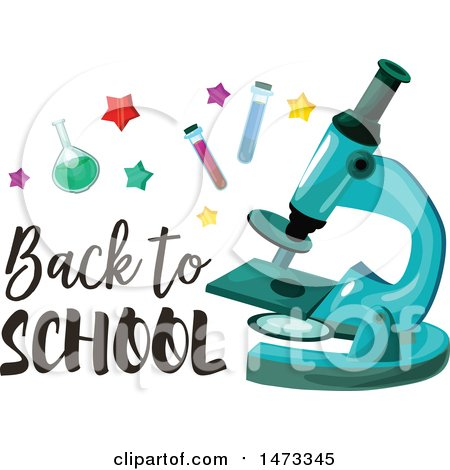 Clipart of a Microscope with Back to School Text - Royalty Free Vector Illustration by Vector Tradition SM