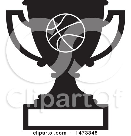 Clipart of a Silhouetted Basketball Trophy Cup with a Blank Plaque - Royalty Free Vector Illustration by Johnny Sajem