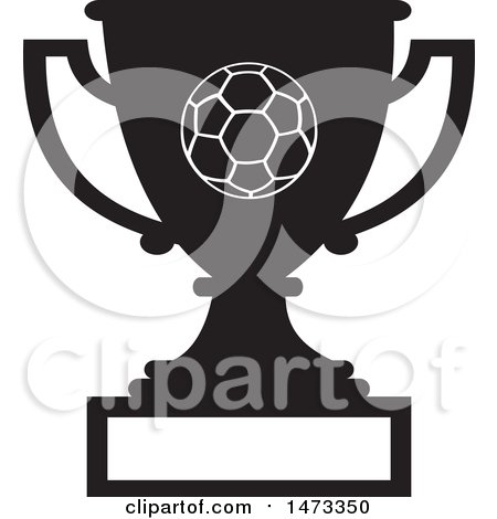 Clipart of a Silhouetted Soccer Trophy Cup with a Blank Plaque - Royalty Free Vector Illustration by Johnny Sajem
