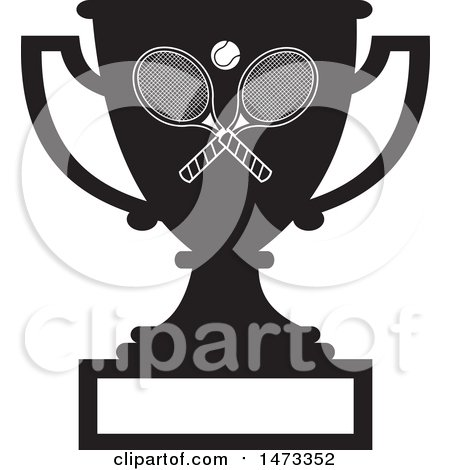 Clipart of a Silhouetted Tennis Trophy Cup with a Blank Plaque - Royalty Free Vector Illustration by Johnny Sajem