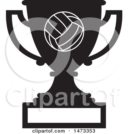 Clipart of a Silhouetted Volleyball Trophy Cup with a Blank Plaque - Royalty Free Vector Illustration by Johnny Sajem
