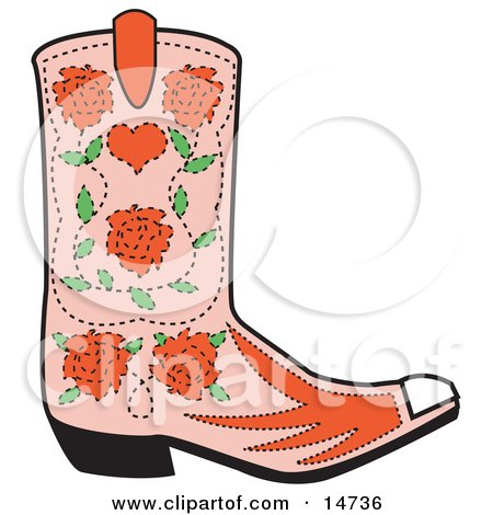 Pink Cowgirl Boot With A Pattern Of Red Roses  Posters, Art Prints
