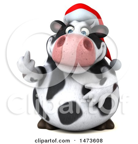 Clipart of a 3d Christmas Holstein Cow Character, on a White Background - Royalty Free Illustration by Julos
