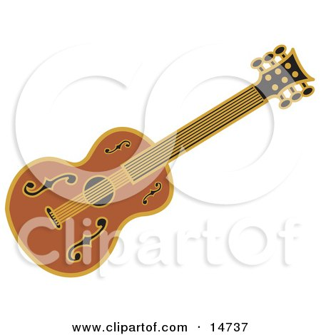 Western Guitar Over a White Background Clipart Illustration by Andy Nortnik