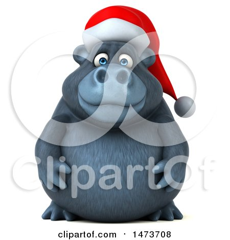 Clipart of a 3d Christmas Gorilla Mascot, on a White Background - Royalty Free Illustration by Julos