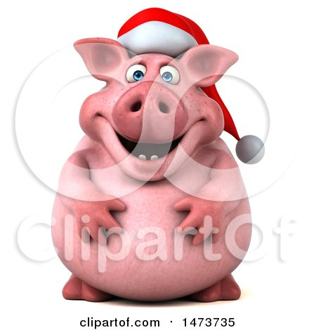 Clipart of a 3d Christmas Chubby Pig, on a White Background - Royalty Free Illustration by Julos