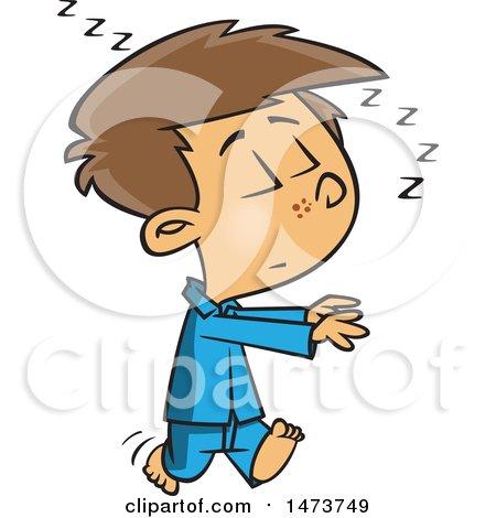 Clipart of a Cartoon Boy Sleep Walking - Royalty Free Vector Illustration by toonaday