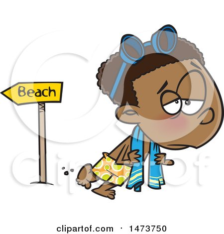 Clipart of a Cartoon Depressed Boy Leaving the Beach After Summer Vacation - Royalty Free Vector Illustration by toonaday