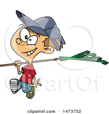 Clipart of a Cartoon Boy Carrying a Rake - Royalty Free Vector Illustration by toonaday