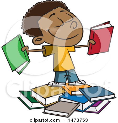 Clipart of a Cartoon Happy Black School Boy with Books - Royalty Free Vector Illustration by toonaday