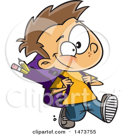 Clipart of a Cartoon School Boy Walking - Royalty Free Vector Illustration by toonaday