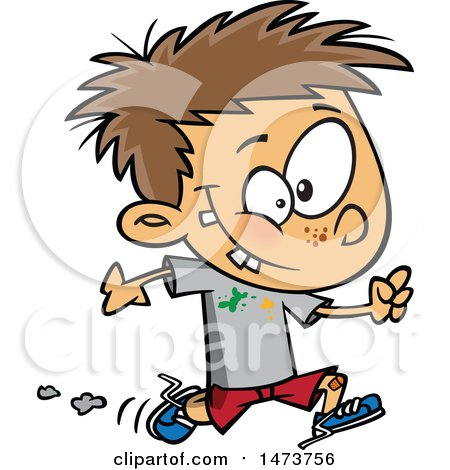 Clipart of a Cartoon Boy Running with Splatters on His Shirt - Royalty Free Vector Illustration by toonaday