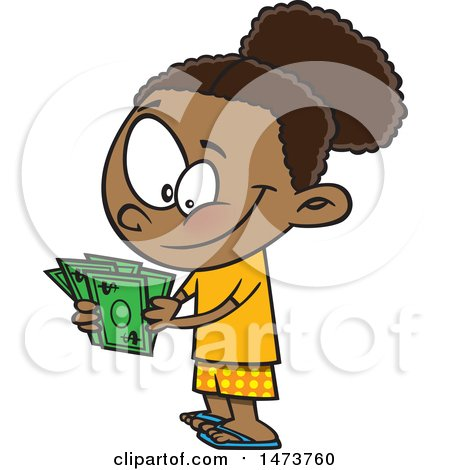 Clipart of a Cartoon Girl Counting Her Cash Money - Royalty Free Vector Illustration by toonaday