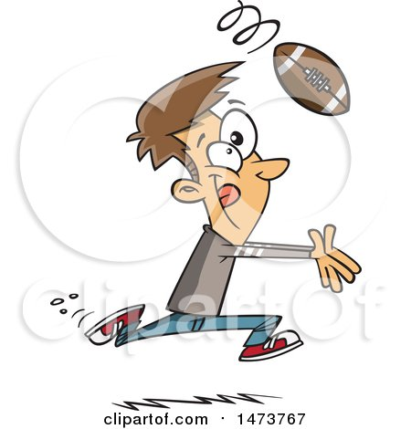 Clipart of a Cartoon Catching a Football - Royalty Free Vector Illustration by toonaday