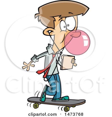 Clipart of a Cartoon Business Man Office Intern on a Skateboard - Royalty Free Vector Illustration by toonaday