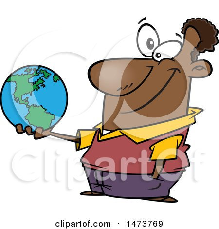 Clipart of a Cartoon Male Teacher Holding a Globe - Royalty Free Vector Illustration by toonaday