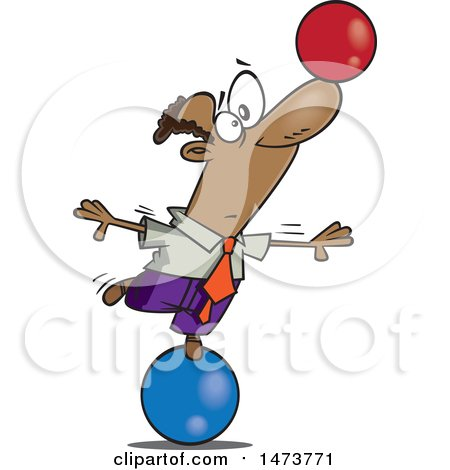 Clipart of a Cartoon Business Man on a Ball, Balancing Another on His Nose - Royalty Free Vector Illustration by toonaday