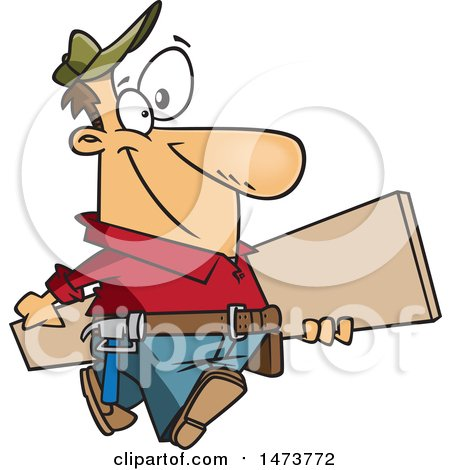 Clipart of a Cartoon Happy Carpenter Carrying a Board - Royalty Free Vector Illustration by toonaday
