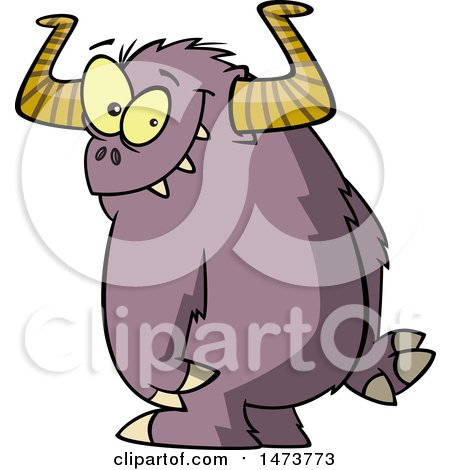 Clipart of a Cartoon Shy Monster - Royalty Free Vector Illustration by toonaday