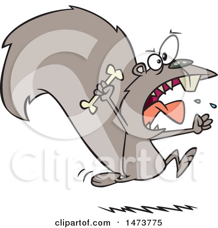 Clipart of a Cartoon Raging Carnivorous Squirrel Holding a Bone - Royalty Free Vector Illustration by toonaday