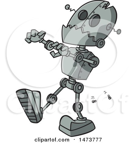 Clipart of a Cartoon Zombie Robot - Royalty Free Vector Illustration by toonaday