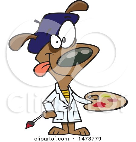 Clipart of a Cartoon Dog Artist Painter Holding a Palette - Royalty Free Vector Illustration by toonaday