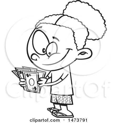 Clipart Of A Cartoon Lineart Girl Counting Her Cash Money