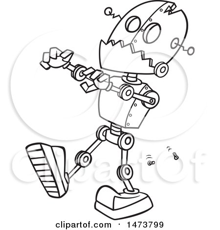 Clipart Of A Cartoon Lineart Zombie Robot