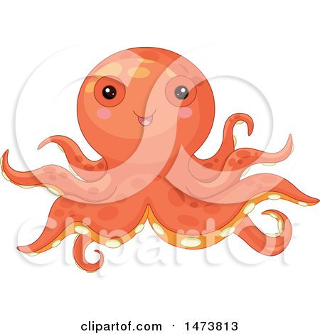 Clipart of a Cute Orange Baby Octopus - Royalty Free Vector Illustration by Pushkin