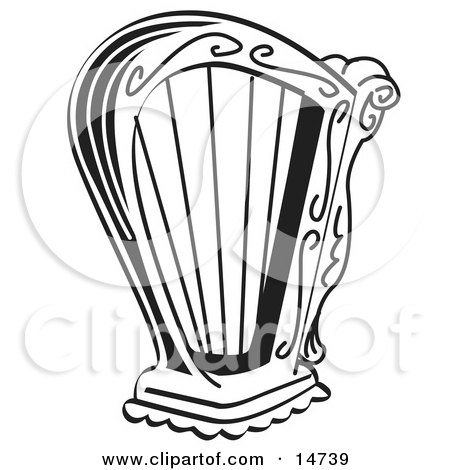 Black and White Harp Instrument Over a White Background Clipart Illustration by Andy Nortnik