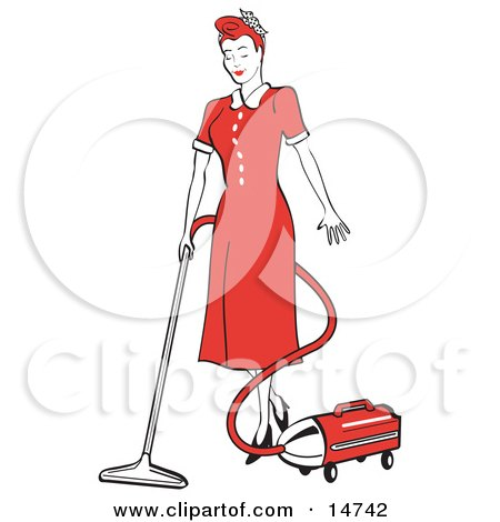 Red Haired Housewife Or Maid Woman In A Long Red Dress And Heels Using A Canister Vacuum To Clean The Floors Clipart Illustration