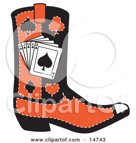 Black And Red Cowboy Boot With Playing Cards And Silhouettes Of A Spade, Club, Diamond And Heart Clipart Illustration by Andy Nortnik