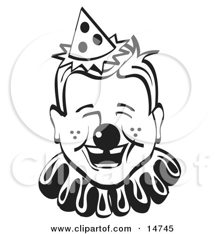 Jolly Freckled Boy With A Clown Nose, Party Hat And Collar, Laughing Clipart Illustration by Andy Nortnik