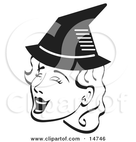 Pretty Woman Singing And Wearing A Pointy Black Witch Hat On Halloween Black And White Clipart Illustration