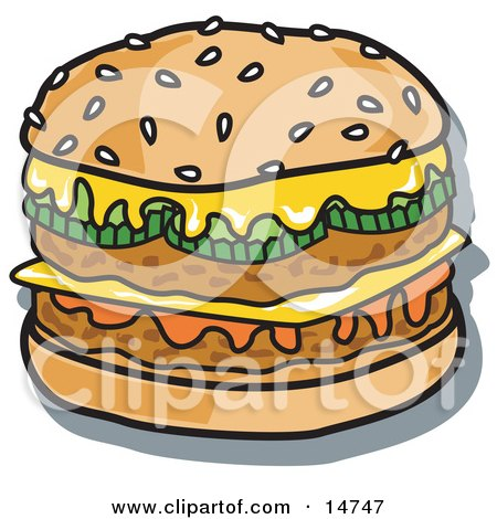 Tasty Double Cheeseburger With Two Meat Patties, Pickles, Ketchup And Melted Cheese On A Sesame Seed Bun Clipart Illustration by Andy Nortnik