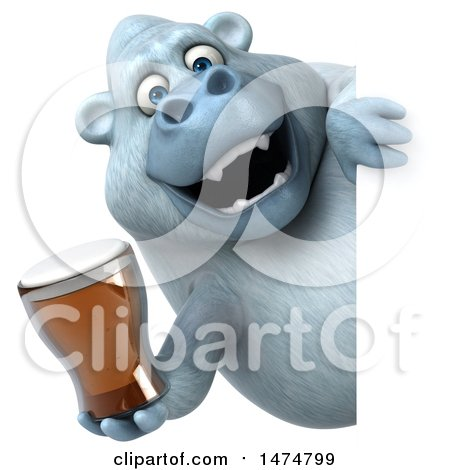 Clipart of a 3d White Monkey Yeti, on a White Background - Royalty Free Illustration by Julos