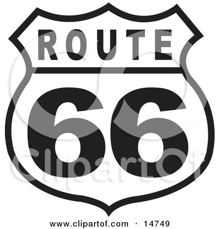 Black and White Route 66 Sign Clipart Illustration by Andy Nortnik