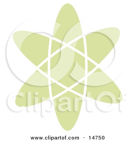 Green Atom Over a White Background Clipart Illustration by Andy Nortnik