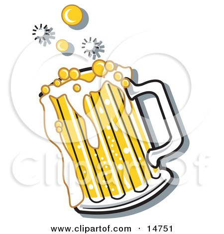 Bubbly And Frothy Mug Of Beer Spilling Over The Rim Of A Mug Clipart Illustration by Andy Nortnik