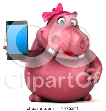 Clipart of a 3d Pink Henrietta Hippo Character, on a White Background - Royalty Free Illustration by Julos