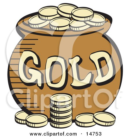 Stack Of Gold Coins Near A Pot Of Leprechaun's Gold Clipart Illustration by Andy Nortnik