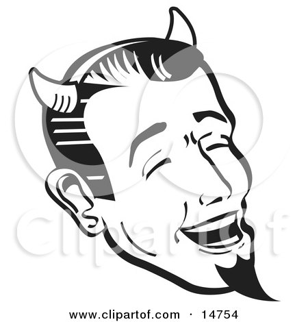 Man Wearing Horns And A Goatee, Laughing Devilishly On Halloween, Black and White Clipart Illustration by Andy Nortnik