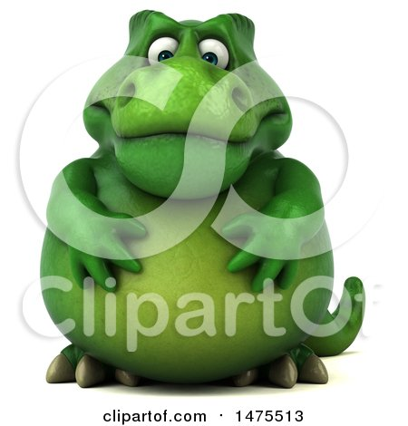 Clipart of a 3d Green Tommy Tyrannosaurus Rex Dinosaur Mascot, on a White Background - Royalty Free Illustration by Julos