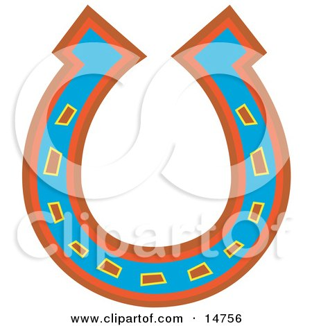 Lucky Blue, Red and Orange Horseshoe Clipart Illustration by Andy Nortnik